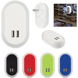 Nightlight AC Adapters with Dual USB Ports (UL Listed)