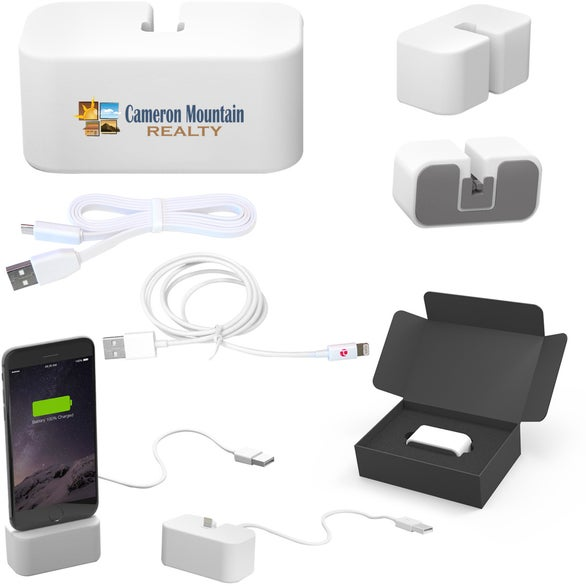 White Powerbase Charging Station with Lightning Cable