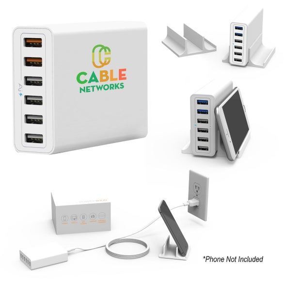 White Powerhub 6-Port USB Wall Charger