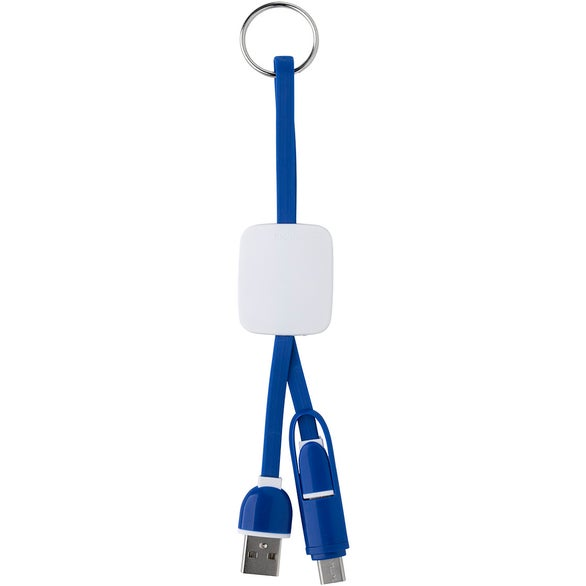 Blue / White Slide Charging Cables on Key Ring
