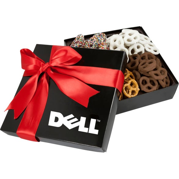 Black 4 Delights Gift Box with Assorted Mini Pretzels