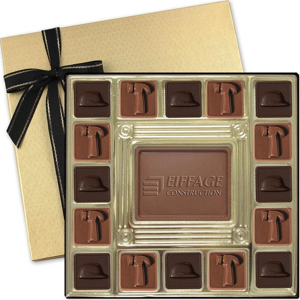 Gold Custom Chocolate Squares Gift Box