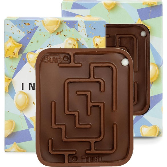 Full Color Imprint Customizable Box with Milk Chocolate Molded Maze
