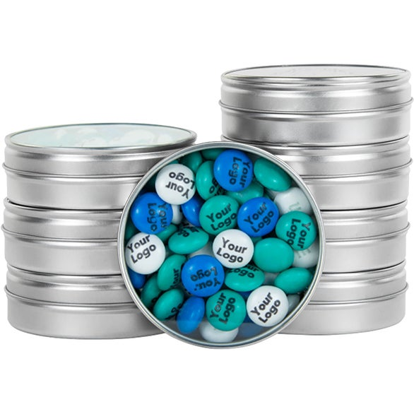 Silver Logo Personalized M&M's Tin