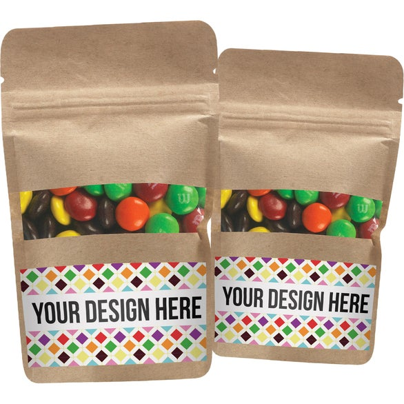 Kraft Resealable Kraft Window Pouch with M&M's