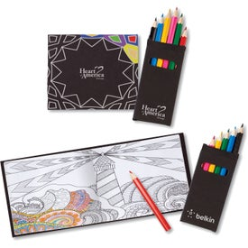 Adult Coloring Book and 6 Color Pencil Set To-Go (16 Sheets)