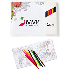 "Deluxe 7""x7"" Adult Coloring Book and 8-Color Pencil Set"