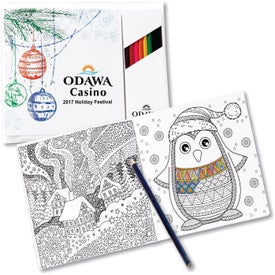 Holiday Theme Adult Coloring Book and Pencil Set