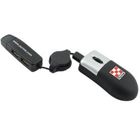 Compact Mini-Mouse With Extender And A 2 Port USB Hub