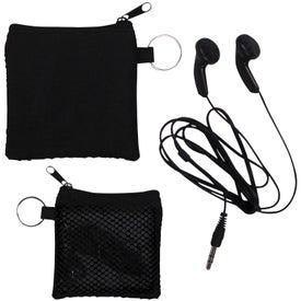 Advertising Ear Buds in Zip Pouch