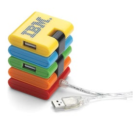 Folding USB 4 Port Hub Imprinted with Your Logo