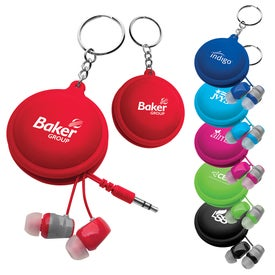Macaroon Cord Winder with Earbud Imprinted with Your Logo