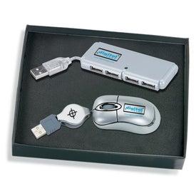 Monogrammed Mini USB Optical Mouse and 4-Port Hub