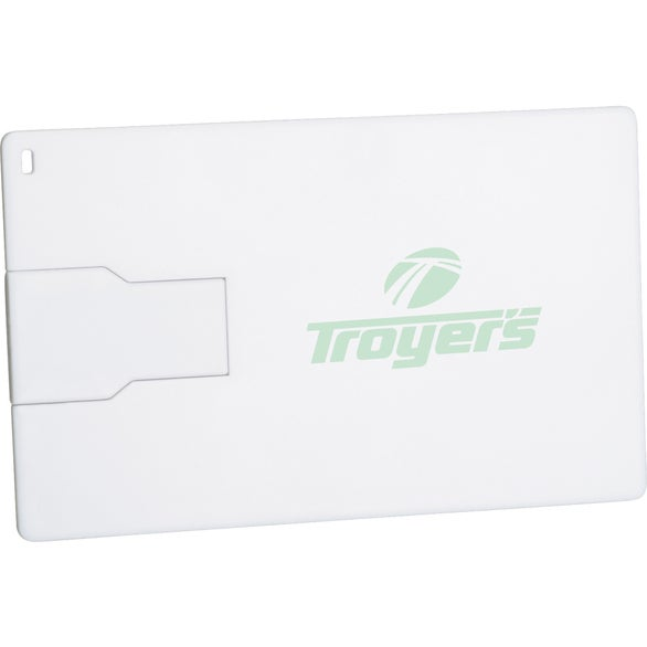White Slim Credit Card Flash Drive