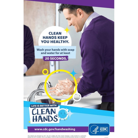 Clean Hands 1 (English) CDC Approved Stock Posters - Hand Washing