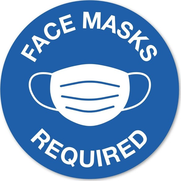 Face Masks Required Circular Stock Masks Required Wall Decal
