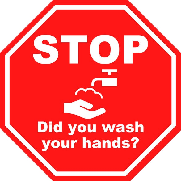 Stop Sign Did You Wash Your Hands Octagon Label
