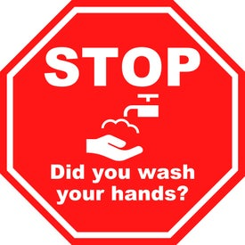 Did You Wash Your Hands Octagon Labels