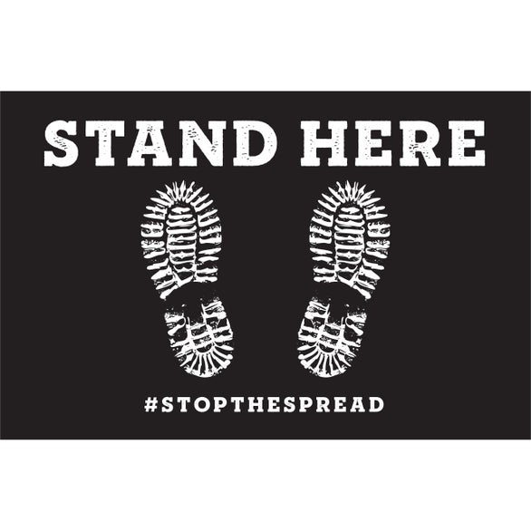 Stand Here Hygiene Floor Decal - Stand Here Rectangle