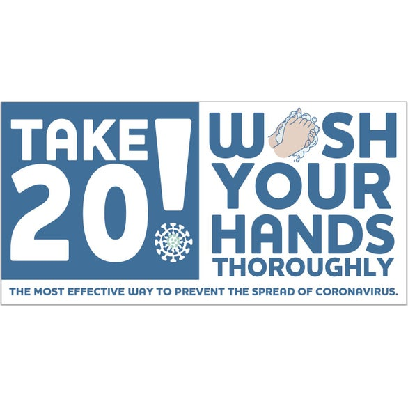 Stay Safe Take 20! Wash Your Hands Stickers