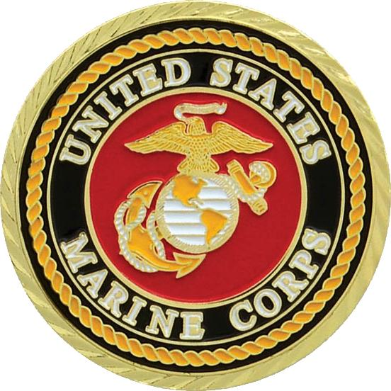 Bright Gold Marine Military Coin