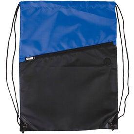Custom Two-Tone Drawstring Backpack with Zipper