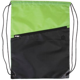 Logo Two-Tone Drawstring Backpack with Zipper