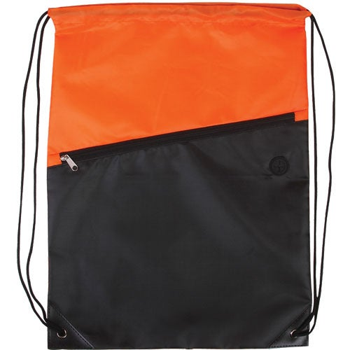 Promotional Two-Tone Drawstring Backpack with Zipper with Custom ...