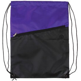 Imprinted Two-Tone Drawstring Backpack with Zipper