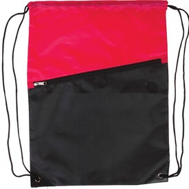 Printed Two-Tone Drawstring Backpack with Zipper