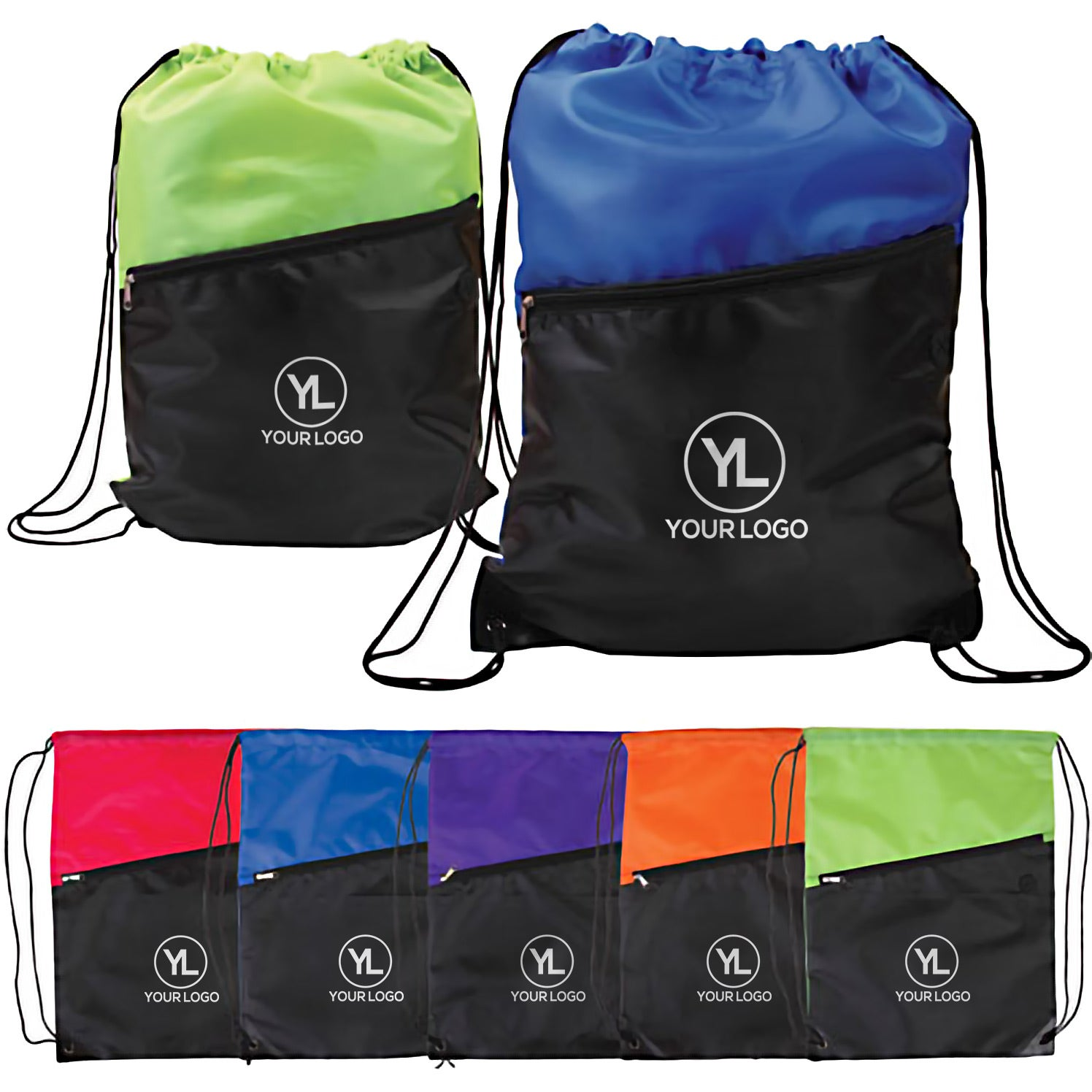 Two-Tone Drawstring Backpack with Zipper