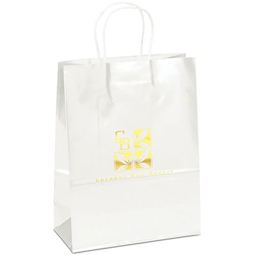 Amber Gloss Shopping Bag (White)