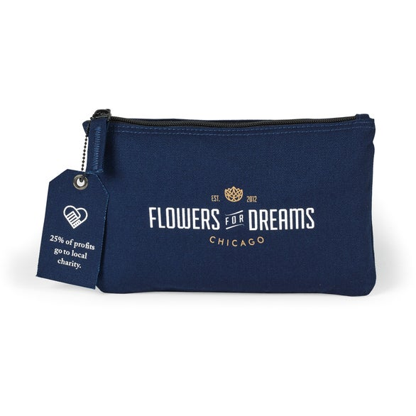 Navy Blue Avery Cotton Zippered Pouch