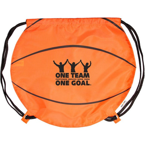 Orange Basketball Drawstring Backpack