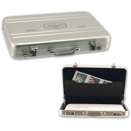 silver briefcase business card case logo - Metal Business Card Case