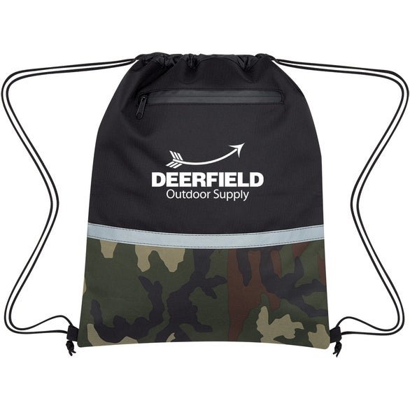 Black / Camouflage Camo Accent Drawstring Sports Pack
