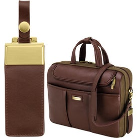 Imprinted Catania Brown Napa Leather Canvas Briefcase
