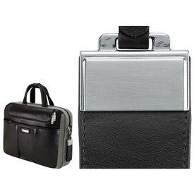Custom Catania Brown Napa Leather Canvas Briefcase