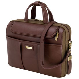 Catania Brown Napa Leather Canvas Briefcase