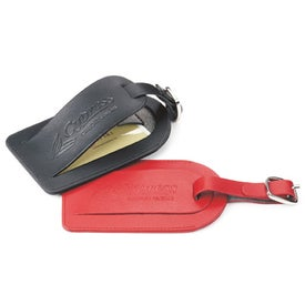 Checkerboard Leather Luggage Tag