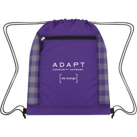 Checkered Mesh Accent Drawstring Bag