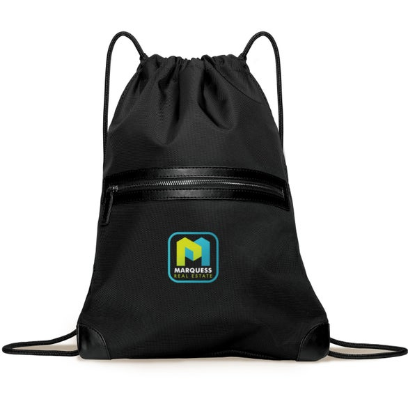 Black Classic Revival Upscale Drawstring Bag