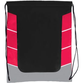 Color Block Drawstring Backpack Branded with Your Logo