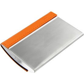 Branded Magnetic Closure Colorplay Leather Card Case