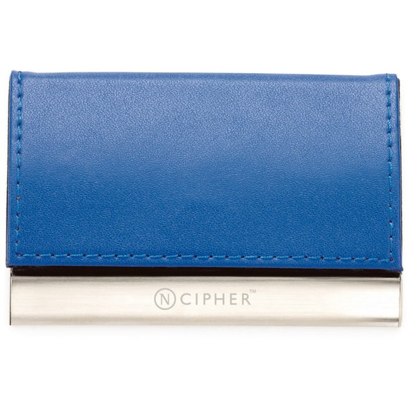 Blue Magnetic Closure Colorplay Leather Card Case