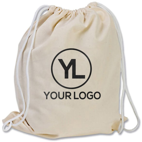 Promotional Cotton Canvas Drawstring Backpack with Custom Logo for ...