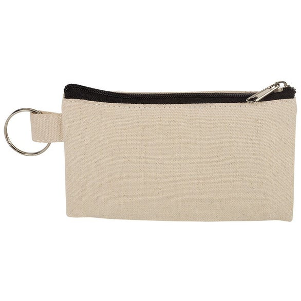 Natural / Black Cotton ID Holder and Coin Pouch