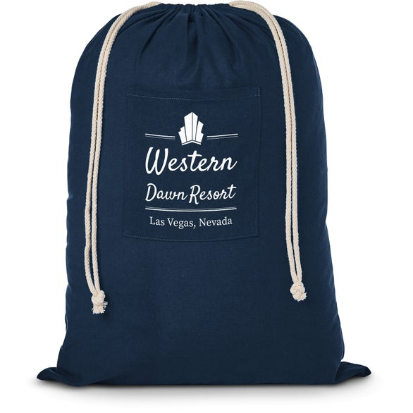 Navy Blue Cotton Laundry Bag