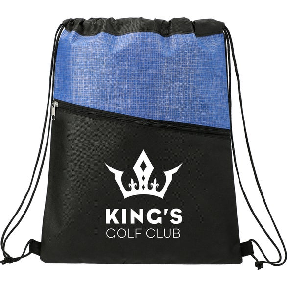 Royal Blue Cross Weave Zippered Drawstring Bag