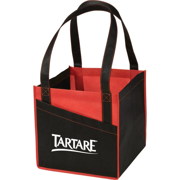 Black / Red Cube Non-Woven Utility Tote Bag
